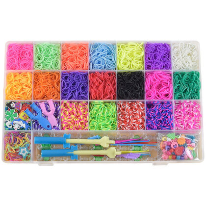 Loom Bands kit 6.800 st band – Gör egna armband & figurer