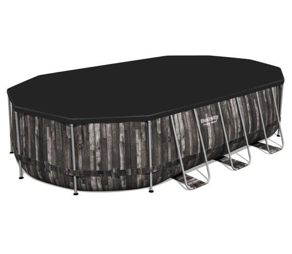 Ovanmarkspool Bestway Power Steel 610x366x122 cm Oval med Stålram, Filterpump & Stege MIDAL